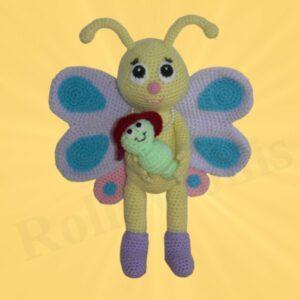 Häkelanleitungen für Frühling Häkelanleitung Schmetterling Bibsi mit Schaukel Amigurumi
