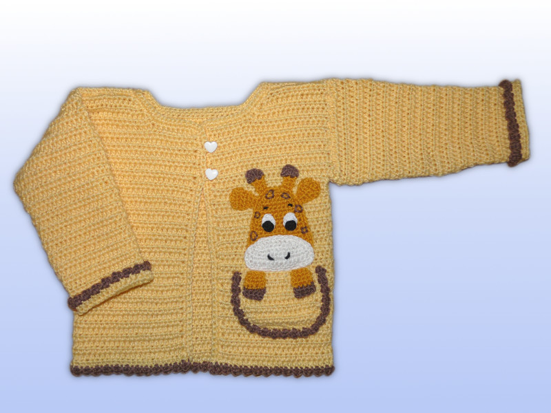 Häkelanleitungen für Bekleidung Häkelanleitung Babyjacke Applikation Giraffe Applikation