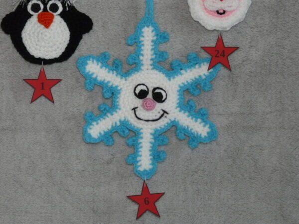 Häkelanleitungen für Weihnachten Häkelanleitung Adventskalender Beutel Schneeflocke Applikation