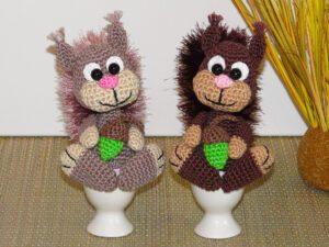 Häkelanleitungen für Eierwärmer Häkelanleitung Eichhörnchen Eierwärmer Amigurumi
