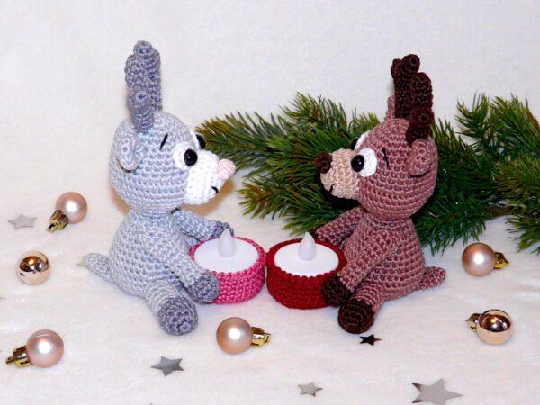 Häkelanleitungen für Weihnachten Häkelanleitung Rentier Teelichthalter Amigurumi