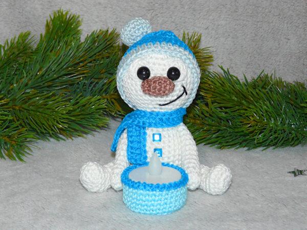 Häkelanleitungen für Weihnachten Häkelanleitung Schneemann Teelichthalter Amigurumi