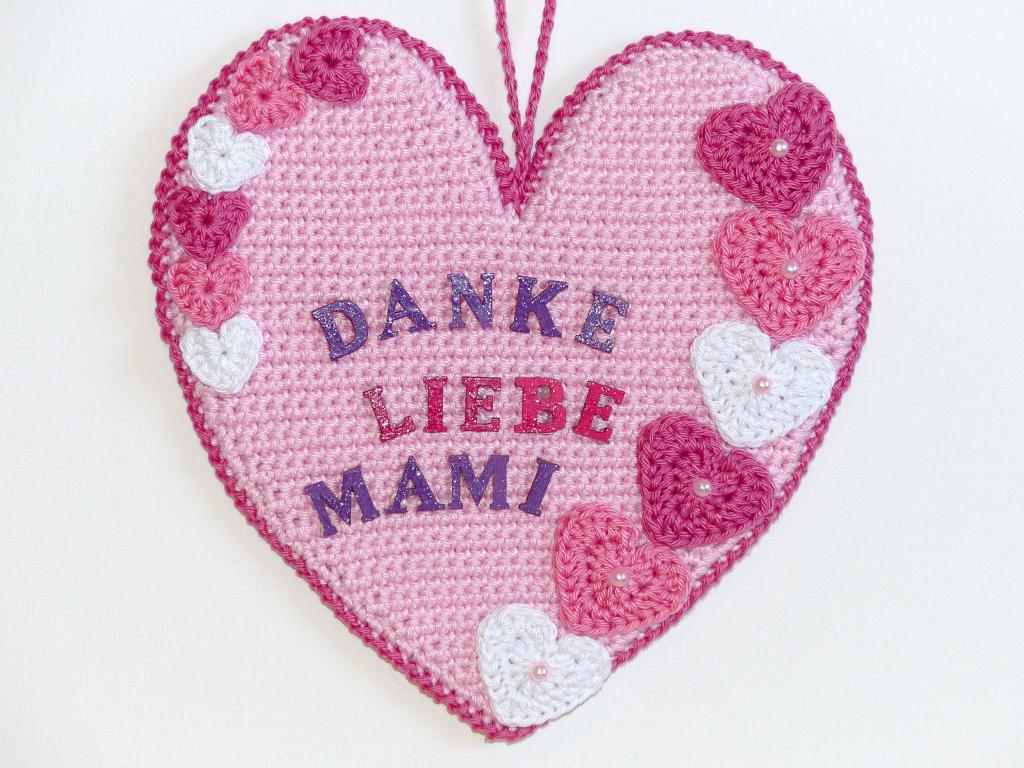 Häkelanleitungen für Muttertag Häkelanleitung Herz Danke Applikation