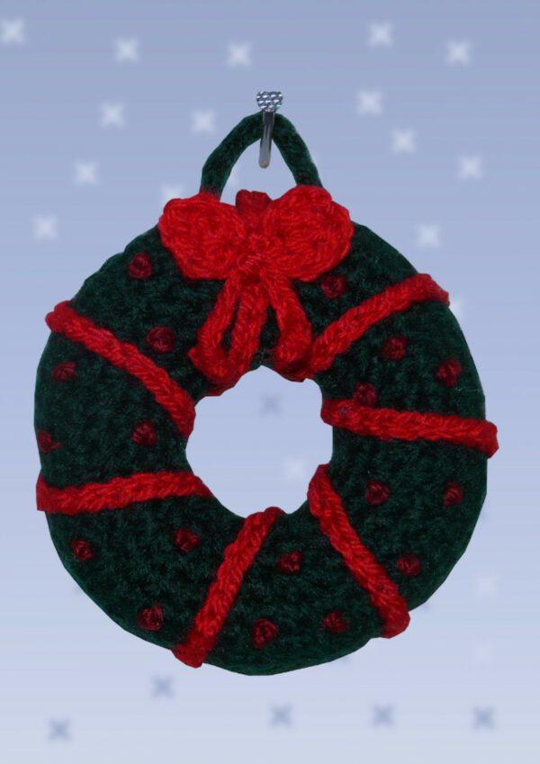 Häkelanleitungen für Weihnachten Häkelanleitung Miniatur Weihnachtskranz Dekoration